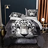White Tiger Comforter Set King Size 3 Piece Wild Animal Gray Bedding Sets for Teen Boys Adult, 1 Comforter + 2 Pillow Shams