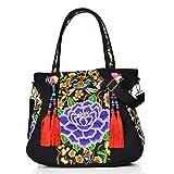 N-B Mochila de las mujeres bolso de hombro retro bordado bonita flor bohemia estilo étnico chino borla bolso mensajero gran capacidad chica
