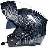 DFBGL Bluetooth Modular Flip up Front Casco de Motocicleta Casco de Moto Integral Ligero con Doble Visera Cascos de Motocross L = 58~59CM (Color: B, Tamaño: S = 54~55CM)