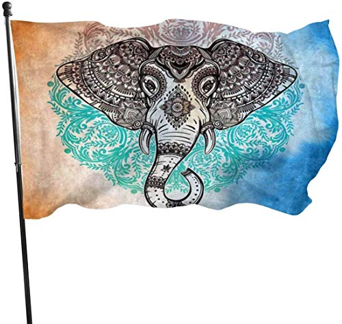 Oaqueen Premium Flagge/Fahne Mandala Elephant Orange Blue Outdoor Flagge/Fahne - House Yard Flag - Rustic Coastal Garden Yard Decorations