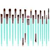 Pinceles de maquillaje profesional, un conjunto de 20 Totalmente sedoso y suave maquillaje de la fibra sintética de Sistemas de cepillo para la Fundación, rubor y Correctores de los ojos,Verde
