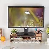 YYHDD Groß 2-Tier Monitorständer Hölzerner Bildschirmständer Monitorständer Riser mit Stauraum und Multifunktionssteckplatz für Laptop Bildschirm Drucker TV Riser Schreibtisch
