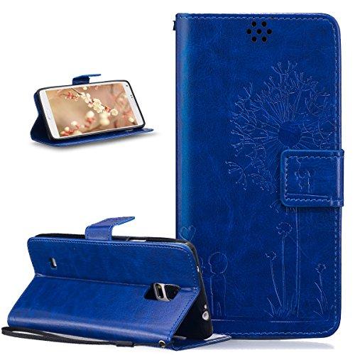 ikasus Coque Galaxy Note 4 Etui Gaufrage Amour amants pissenlit Housse Cuir PU Housse Etui Coque Portefeuille Protection supporter Flip Case Etui Housse Coque pour Galaxy Note 4,Bleu