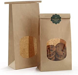 BagDream Bakery Bags with Window Kraft Paper Bags 50Pcs 4.5x2.36x9.6 Inches Tin Tie Tab Lock Bags Brown Window Bags Cookie...