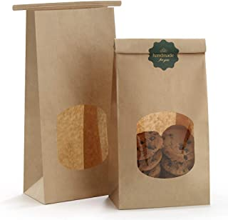BagDream Bakery Bags with Window Kraft Paper Bags 50Pcs 4.5x2.36x9.6 Inches Tin Tie Tab Lock Bags Brown Window Bags Cookie Bags, Coffee Bags