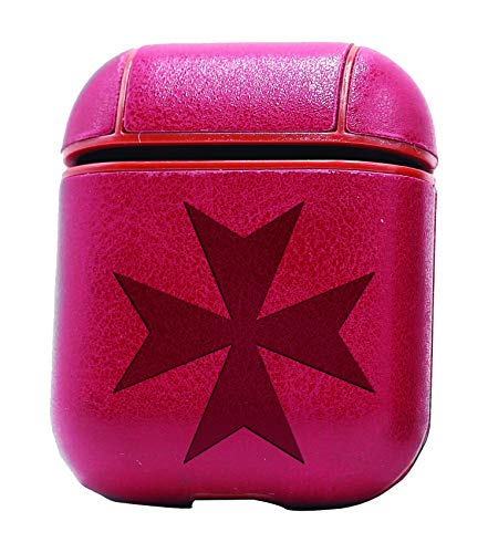 Maltese Cross Silhouette (Vintage Pink) Air Pods Protective Leather Case Cover - A New Class of Luxury to Your Airpods - Premium Pu Leather and Handmade Exquisitely by Master Craftsmen