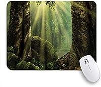 VAMIX マウスパッド 個性的 おしゃれ 柔軟 かわいい ゴム製裏面 ゲーミングマウスパッド PC ノートパソコン オフィス用 デスクマット 滑り止め 耐久性が良い おもしろいパターン (コケの木の体に太陽光線の反射で自然の森)