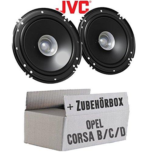 Opel Corsa B/C/D - Lautsprecher Boxen JVC CS-J610X - 16cm Auto Einbauzubehör 300Watt Koaxe KFZ PKW Paar - Einbauset