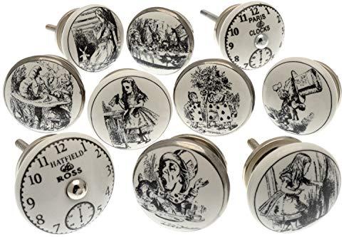 Vintage-Chic Gemischt Set mit 'Alice im Wunderland - Uhren' schwarz & weiß Keramik Küchenschrank Knauf x 10er Packung (MG-262) TM Produkt