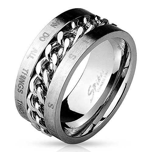 Bungsa® 67 (21.3) Ring mit Königskette und Bibel Zitat eingraviert Edelstahl Silber Herren 60 62 64 67 70 72 (Gravur Ring Männer Fingerring Jesus Damen Damenring Edelstahlring Chirurgenstahl)