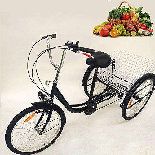 SENDERPICK 24 pulgadas 6 velocidades adulto 3 ruedas triciclo, adulto bicicleta Pedal de ciclismo con cesta blanca para deportes al aire libre compras ajustable, negro