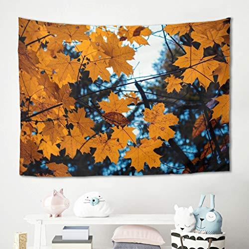 Gamoii Tapiz de hojas de arce, para colgar en la pared, para picnic, playa, esterilla de yoga, decoración de pared, funda blanca 200 x 150 cm