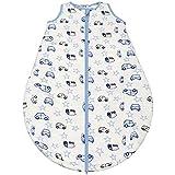 Gräfenstayn® Baby-Schlafsack ganzjährig für Jungen und Mädchen - verschiedene Motive und Größen - mit integriertem Reißverschluss - super weich und atmungsaktiv (Blau-Weiss, 90cm)
