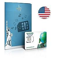 Soyez connectés à la sortie de l'avion. Activez-là avant de partir. (instructions fournies) Internet Data 5 Go en 4G aux États-Unis (vitesse réduite au delà de 5 Go. 4G selon compatibilité). Appels & sms illimités à l'intérieur des États-Unis Appels ...