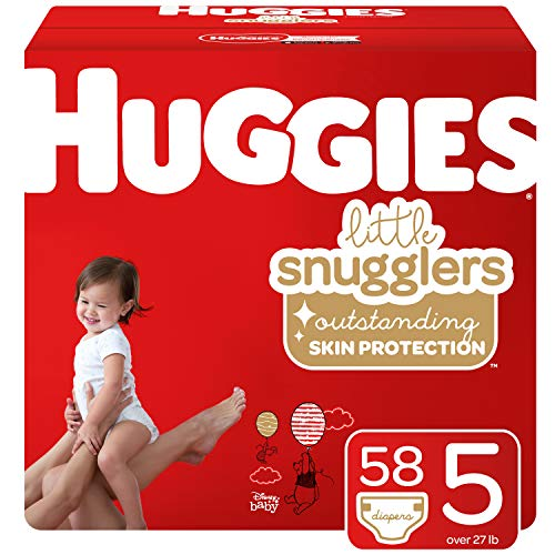 Huggies Little Snugglers Baby Diapers, Size 5 (27+ lb.), 58 Ct, Giga Jr Pack (Packaging May Vary)