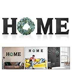 """You will get: one package includes 3 pieces of wooden home sign letter (""""H"""", """"M"""", """"E"""") and 1 piece of artificial eucalyptus greenery wreath for """"O"""", 4 pieces in total, nice home sign decoration for meeting your demands Reliable material: the home wal..."""