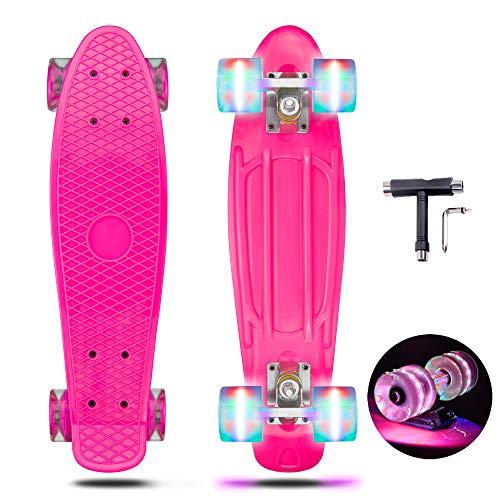 PHNHOLUN Skateboards Complete 22' Mini Cruiser Skateboard for Kids Boys Youths Beginners (2)