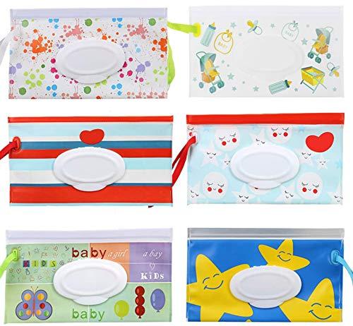 Bolsa de toallita húmeda para bebé, Travel Wipes Case Dispensador, Portátil Recargable Estuches de Viaje (Multicolor)