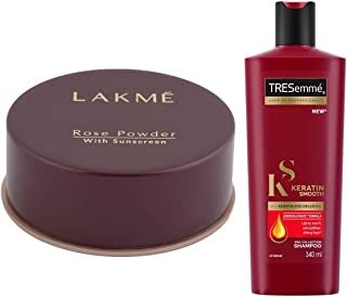Lakme Rose Face Powder, Warm Pink, 40g & TRESemme Keratin Smooth Shampoo, 340ml