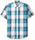 Amazon Essentials – Camisa informal de popelín a cuadros de manga corta de corte recto para hombre, Teal/Navy Large Plaid, US XS (EU XS)