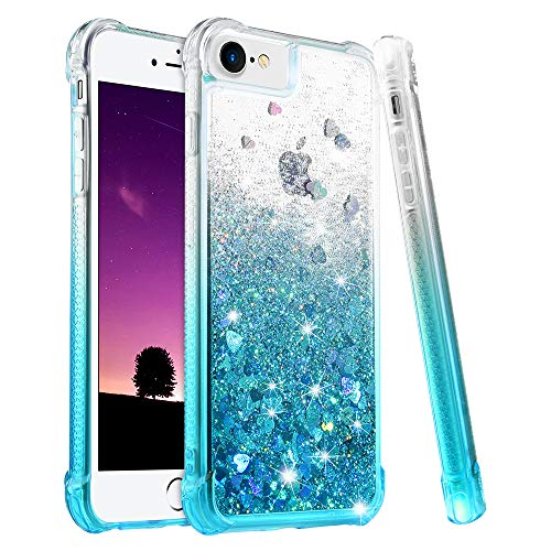 Ruky iPhone 8 Case, iPhone 7 Case for Girls Women, Gradient Quicksand Series Bling Glitter Flowing Liquid Floating TPU Bumper Cushion Protective Cute Case for iPhone 6 6s 7 8, Gradient Teal