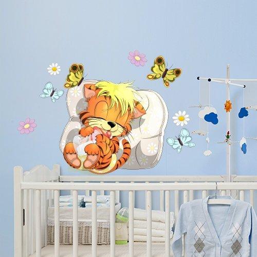 R00067 Pegatina Adhesivo Vinilo Decorativo Pared Dulces sueños bebé Tigre - Papel Pintado Adhesivo Efecto Tela