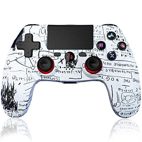 Maegoo Mando Inalámbrico Compatible para PS4, Bluetooth Inalámbrico Mandos Gamepad Joystick para PS4 Slim/Pro con Dual Shock Vibración y 6-Axis Gyro Sensor, Touch Panel y Función de Audio-Pintada