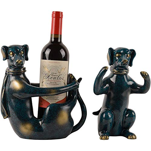 QIU 2 Set of Funny Dog sculpture Wine Bottle Holder Sculpture for Unique Tabletop Wine Racks,Display Stands for Country Farm Kitchen Table Centerpieces,Blue