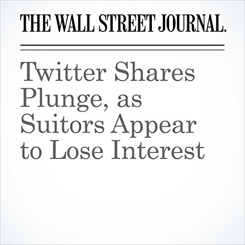 Twitter Shares Plunge, as Suitors Appear to Lose Interest cover art