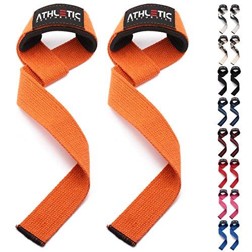 ATHLETIC AESTHETICS Profi Zughilfen [gepolstert] + Grundübungs-Guide / 60 cm Länge für Krafttraining, Bodybuilding & Fitness - Lifting Straps für Frauen & Männer geeignet - 2 Jahre Garantie (Orange)