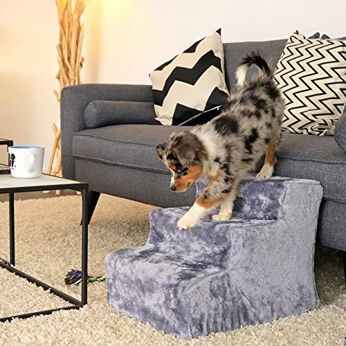 dibea Haustiertreppe Katzentreppe Hundetreppe mit Plüschbezug Farbe Hellgrau