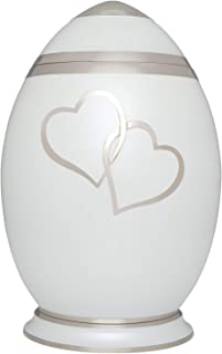 White Hearts Cremation Urn by Liliane Memorials - Urns for Human Ashes Remains - Brass - Suitable for Funeral Cemetery Burial or Niche - Large Size for Adults up to 200 lbs - Egg Oval with Two Hearts