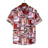 CIDCIJN Camisa Hawaiana para Hombre - Patrón De Flores De Los Hombres Impreso Hawaiian Beach Camisa Casual Camisa Salvaje Blusa Hombres Botón Flexible Transpirable Rápido Seco Shir,Rojo,M