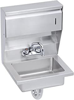 Economy Hand Sink, Featuring Soap and Towel Dispenser, Lever Waste, Overflow Valve and P-Trap, 18 (L) X 14.5 (W) X 22.375 (H) Over All