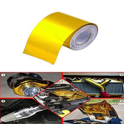 Exhaust Band Wärme Wrap Gold-Thermal-Lufteintritt Isolierung Abschirmung Reflektierende Wärmesperre Self Adhesive Engine 2 Inch 09.05 / 10M (Color : 9M)