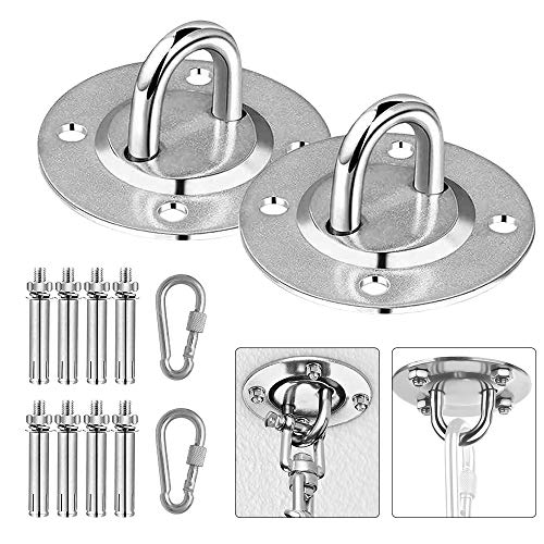 N A 2Pcs HammocAk Hanging Kit, Durable Hooks&Carabiners, Expansion Bolts Screws Stainless Steel 400 KG (U) Capacity for Hammock Stand, Swing Chair, Punching Bag, Yoga Training, Hanging Lamp