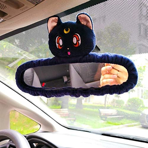 Car Interior Rearview Mirror Cover Paper Decoration Keychain Decoration Cute Anime Personality reversing Cartoon Pendant reversing Decoration Gift for Girlfriend