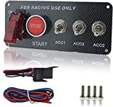 Welugnal DC 12V Ignition Switch Panel 5 in 1 Car Engine Start Push Button LED Toggle For Racing Car