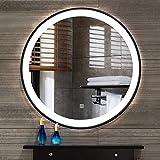 L&ed espejo, led iluminado espejo del baño frontera hierro forjado, espejo de maquillaje redondo con luz led, salón dormitorio botón táctil (luz blanca)