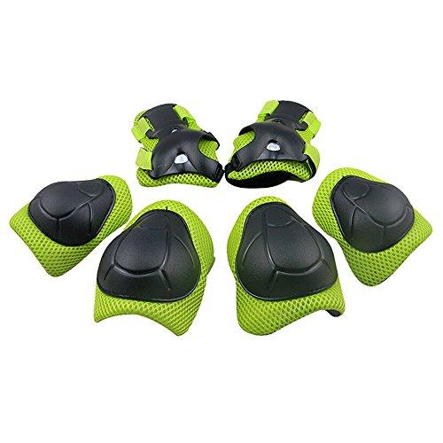 GIM Schoner Set Kinder Protektoren Sets Schützer Skateboard Schutzausrüstung Knieschoner Knieschützer Inline Jungen Mädchen (Grün)