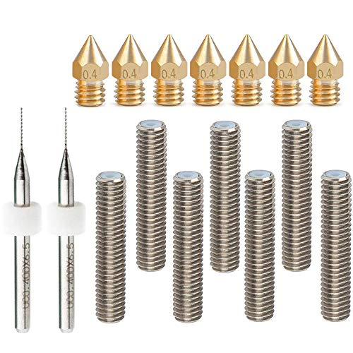 RUNCCI-YUN 7pcs 30 mm Longitud extrusor 1,75 mm Tubo y 7pcs Boquilla Extrusora de Impresión (0.4 mm latón, para impresoras 3d MK8 Makerbot Reprap (Bonus: 2 piezas brocas de limpieza)