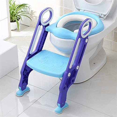Sinbide Adaptador WC para Niños Asiento Plegable con Escalera Ajustable para Bebés Reductor WC de Inodoro Aseo Asiento de Inodoro Orinal Bacinica para Bebés y Niños 1-8 Años (Azul-Violeta)