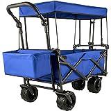 VEVOR Chariot de Jardin Pliable avec 4Roulettes, Chariot Pliable avec Toit Bleu, Remorque de Transport Rangement Pratiques pour Jardin/Plage/Pique-Nique/Sport/Camping/Achats/Parc/Pêche/Barbecues
