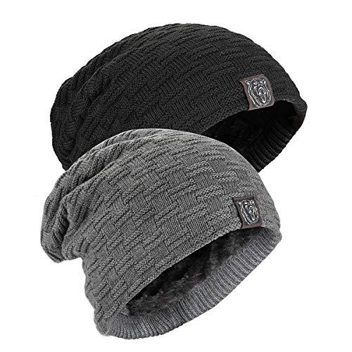 Kungber Bonnet Homme Hiver Beanie Chaud Femme Chapeau Tricoté Bonnets de Randonnée Ski