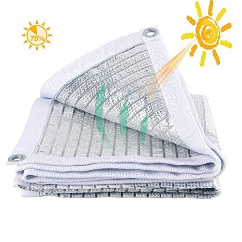 Herxy 75% reflektierendes Aluminium-Schattennetz mit Ösen, Sonnenschutzgewebe, Anti-UV-Markise, für Auto/Hundehütte/Pflanze/Garten/Terrasse,1/2/3/4/5/6/7/7/8/9 / 10m