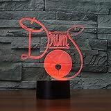 Regalos Lampara Lampada illusione 3D LED Luce notturna Drum Set 7 colori Cambia Baby Night Light Lampada da tavolo 3D Illusion Bulbing Night Lamp Lampada 7 colori che cambiano regalo