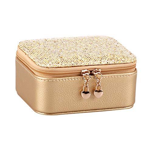 Flash Caja Joyero con Cremallera PU Cuero Caja Organizadora de Joyas para Mujer Portátil Pequeño Viaje Caja de Joyas para Anillos Pendientes Collares Pulseras-Oro