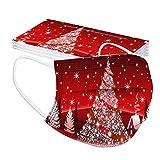 Blingko Weihnachten Mundschutz für Erwachsene 10 Stück Einweg Mehrfarbig Mund und Nasenschutz Motiv Staubschutz Atmungsaktive Gesichtsschutz Bandana Loop Halstuch (A)