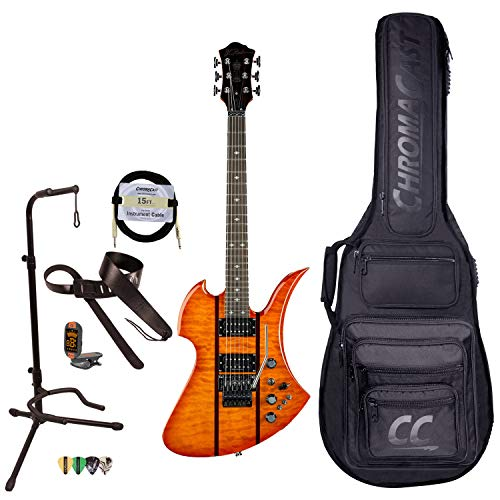 BC Rich Guitars Mockingbird Legacy ST Electric Guitar with Floyd Rose, Case, Strap, and Stand, Honey Burst