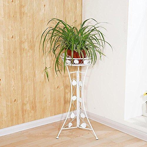 LLLXUHA Art de Fer Amovible Type de Plancher Support de Fleurs, intérieur métal Assemblée Étagère à Fleurs, Balcon Succulentes Présentoir, Blanc, 98cm